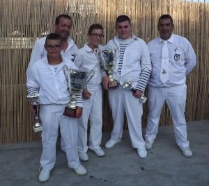 Mathis, Axel et Anthony avec Francis et David